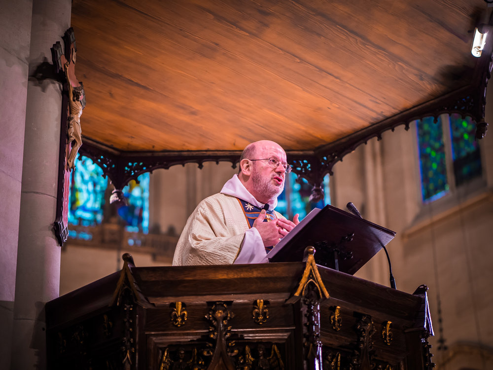 Father Jay Smith was celebrant and preacher for the Solemn Mass on Sunday, May 6, 2018.   Photo by Ricardo Gomez