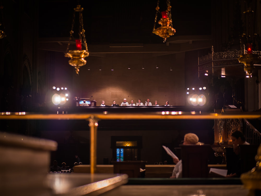 A photograph of our musicians taken from the ambulatory behind the high altar.   Photo by Ricardo Gomez