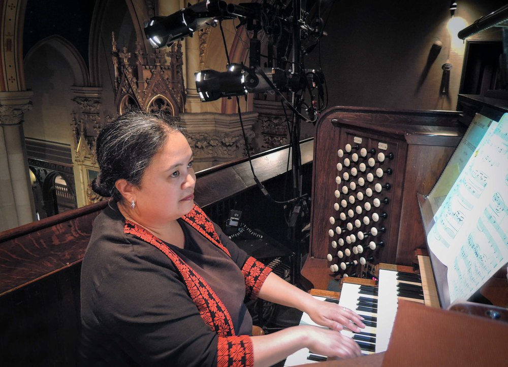 Dr. Jennifer Pascual, director of music, Saint Patrick's Cathedral, New York City, played the recital before the Solemn Mass on Ascension Day.    Photo by Sr. Monica Clare, C.S.J.B.