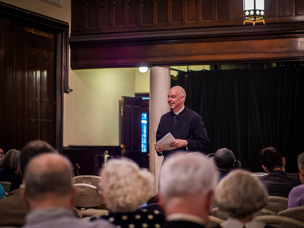 The Rector presided at the annual meeting of the congregation on Sunday, May 6.   Photo by Ricardo Gomez