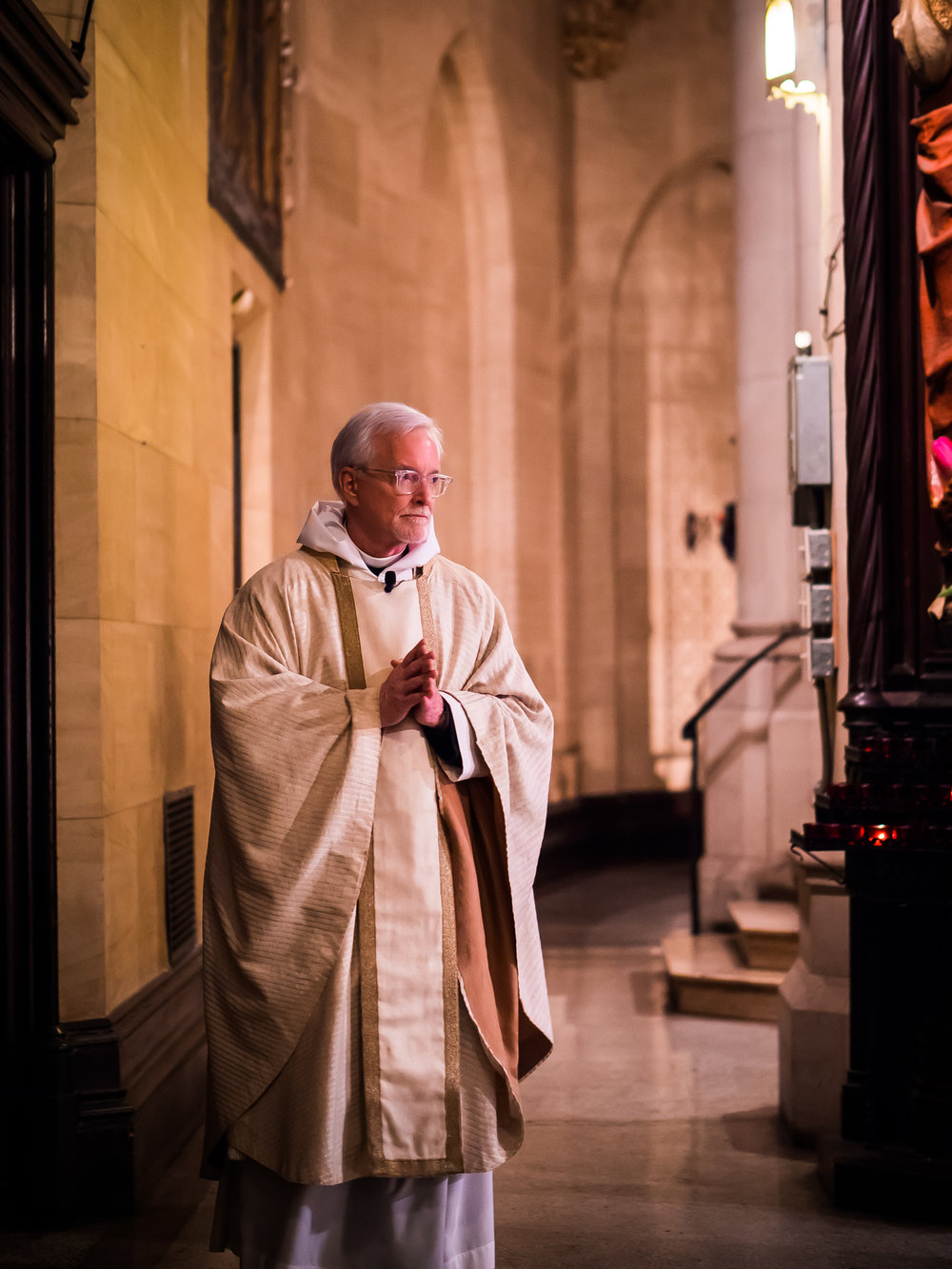 Father Jim Pace was celebrant and preacher for the Solemn Mass on the Seventh Sunday of Easter.  Photo by Ricardo Gomez