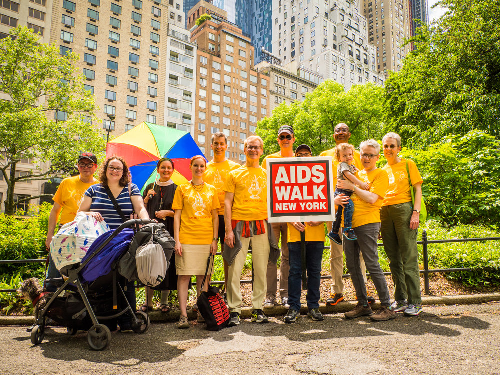 The Saint Mary's AIDS Walk Team stops for a brief rest and a photo op   in Central Park on Sunday afternoon.  (Click on any photo to enlarge.) Photo by Ricardo Gomez
