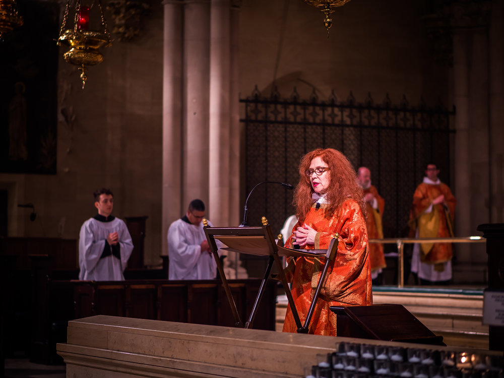 Deacon Rebecca Weiner Tompkins chants the Prayers of the People on the Day of Pentecost.  Photo by Ricardo Gomez