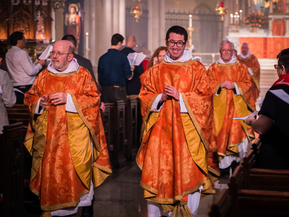 The clergy process to the Narthex at the end of   Solemn Mass on Sunday.  Photo by Ricardo Gomez