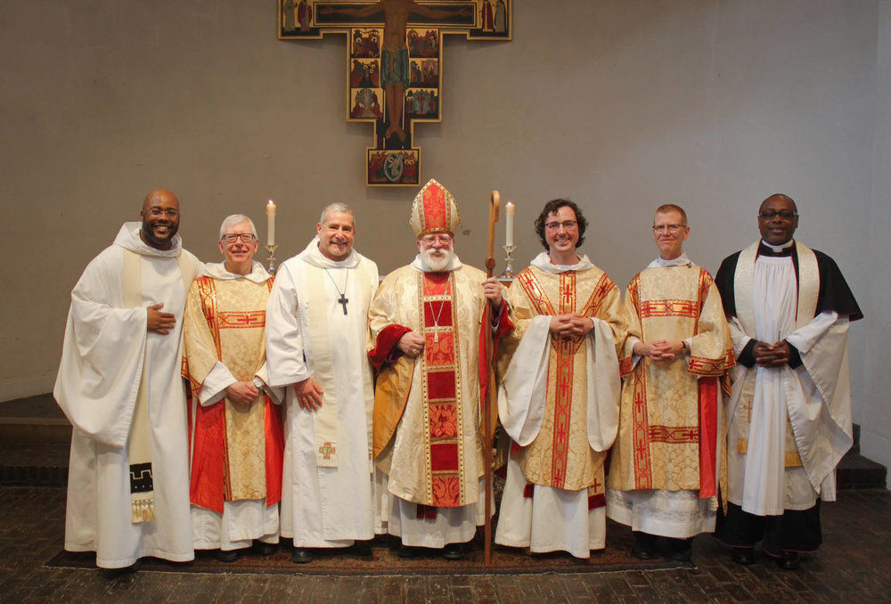 (l. to r.) Brother Joseph Wallace-Williams, OHC; Brother Robert Sevensky, OHC; Brother Robert James Magliula, OHC; Bishop Andrew M. L. Dietsche; Brother Aidan Owen OHC; Sister Elizabeth Broyles, CMA; the Rev. Canon Charles W. Simmons.    Photo courtesy of Facebook: Brother Aidan Owen