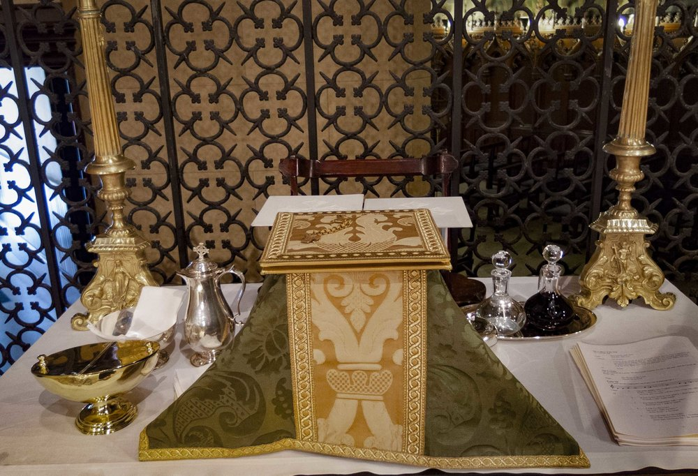 "The Credence Table: ""I will go unto the altar of God""  Photo by Sister Monica Clare, CSJB"