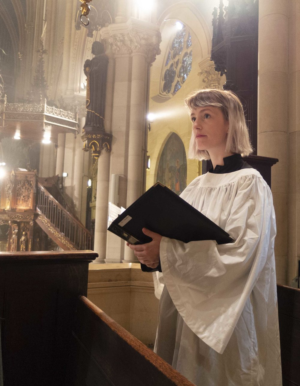 Charlotte Mundy was the cantor at the Solemn Mass on Sunday, June 10.  Photo by Sister Monica Clare, CSJB