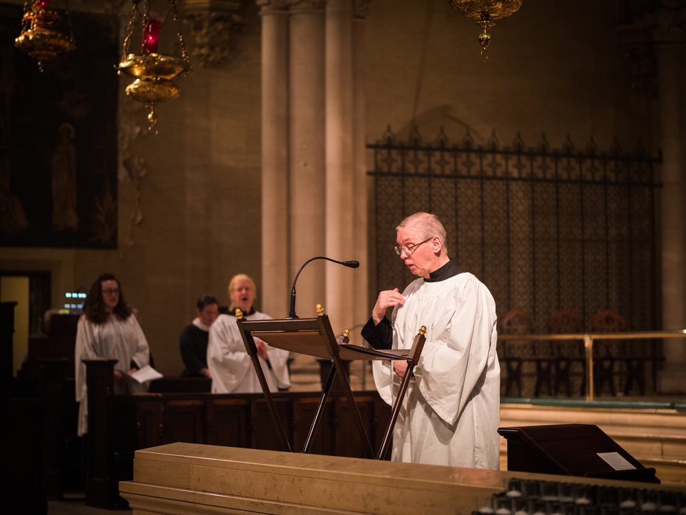 When our deacon is away, a layperson (on this Sunday, Leroy Sharer) leads the singing of the Prayers of the People.  Photo by Ricardo Gomez