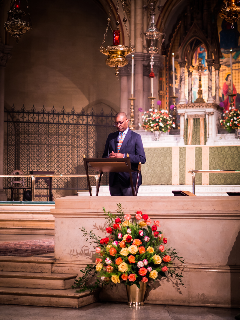Dr. Charles Morgan was lector. Flowers were given for Sunday. The flowers at the chancel steps were on the altar for the funeral for Dick Leitsch on June 28, 2018.    Photo by Ricardo Gomez