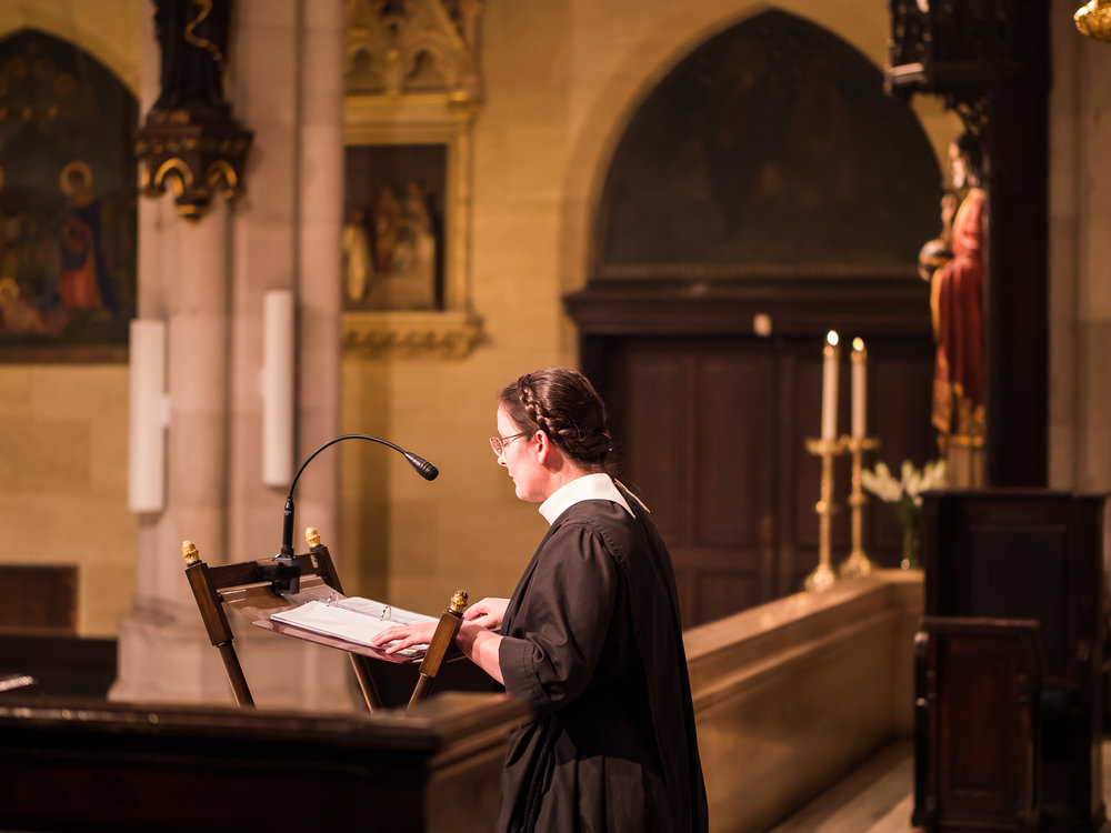 Sr. Monica Clare, C.S.J.B., sang the epistle at the Solemn Mass for the Assumption of the Blessed Virgin Mary.  Photo by Ricardo Gomez