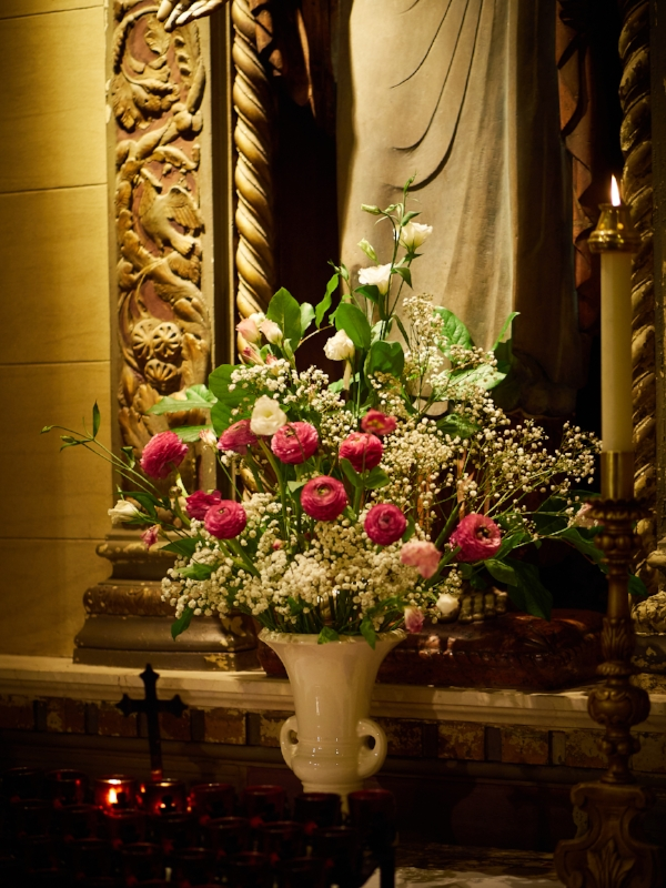 Flowers at the Shrine of the Sacred Heart.    Photo by Ricardo Gomez