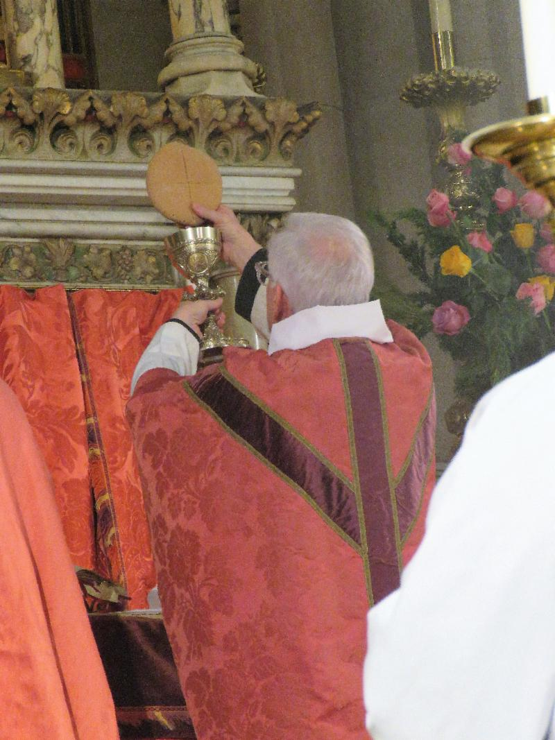 The Bread and the Cup are shown at the doxology before the Eucharistic Prayer continues and concludes with Lord's Prayer.   Photo by Br. Damien Joseph SSF