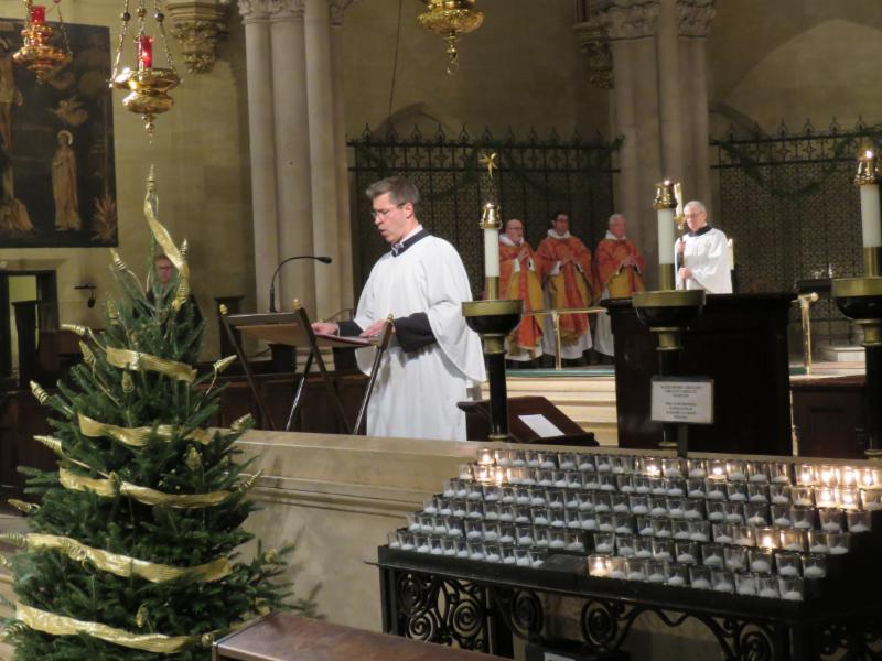 After the entrance and before the procession to the crèche, Mark Risinger sings the Proclamation of the Birth of Christ.  Photo by Br. Damien Joseph SSF