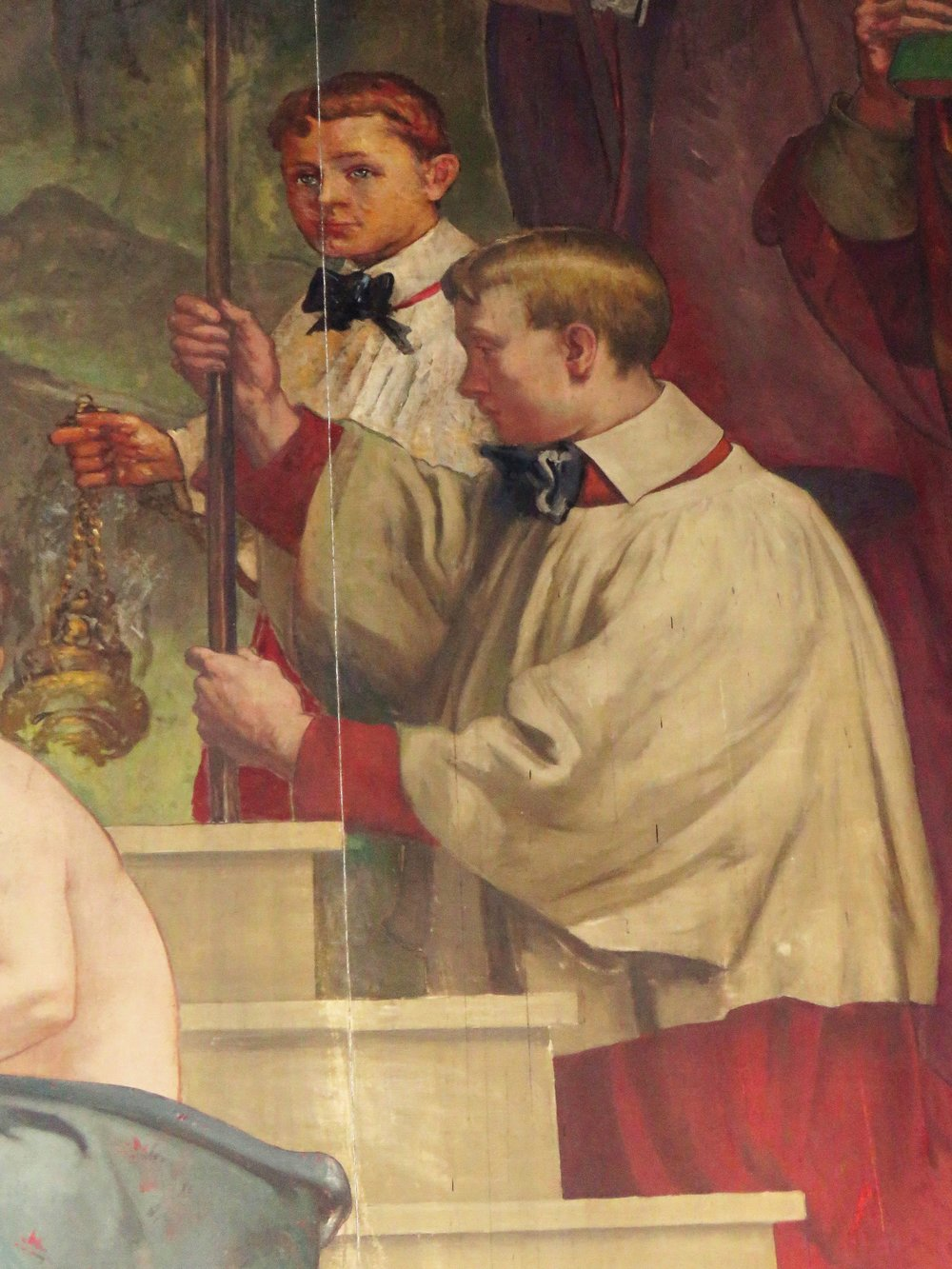 Detail from The Magnificat mural in the Lady Chapel by Elliott Daingerfield (1859-1932).  Photo by Br. Damien Joseph SSF