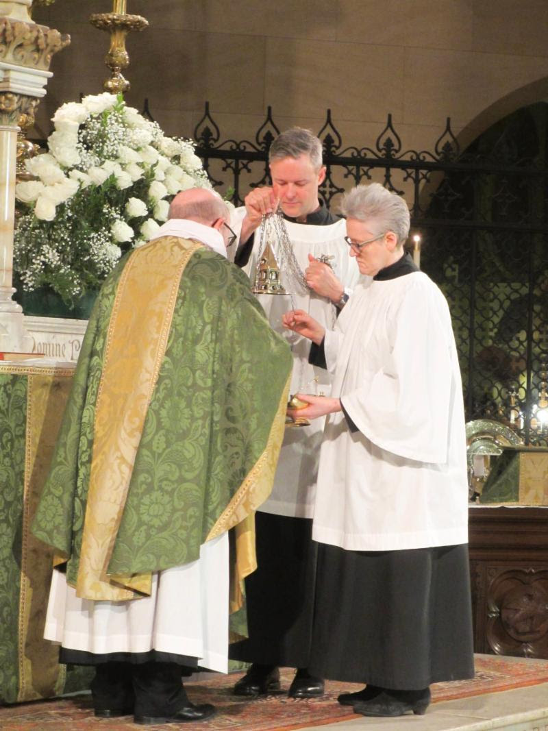 After the opening acclamation, the opening song of praise, always  Gloria in excelsis  except in Advent and Lent, is sung. Incense is prepared and the altar is censed.  Photo by MaryJane Boland