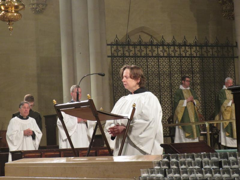 Marie Postlewate chanted the prayers of the people.  Photo by Damien Joseph SSF
