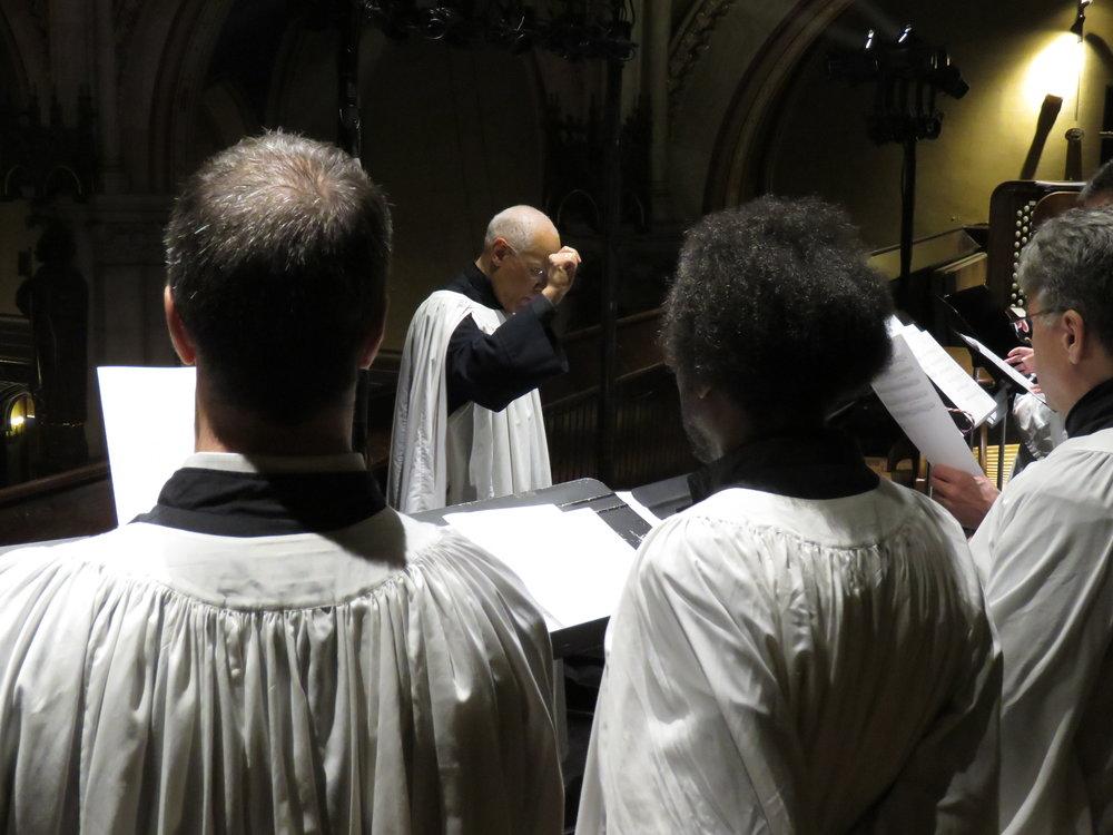 Dr. David Hurd conducts the parish choir.  Photo by Damien Joseph SSF