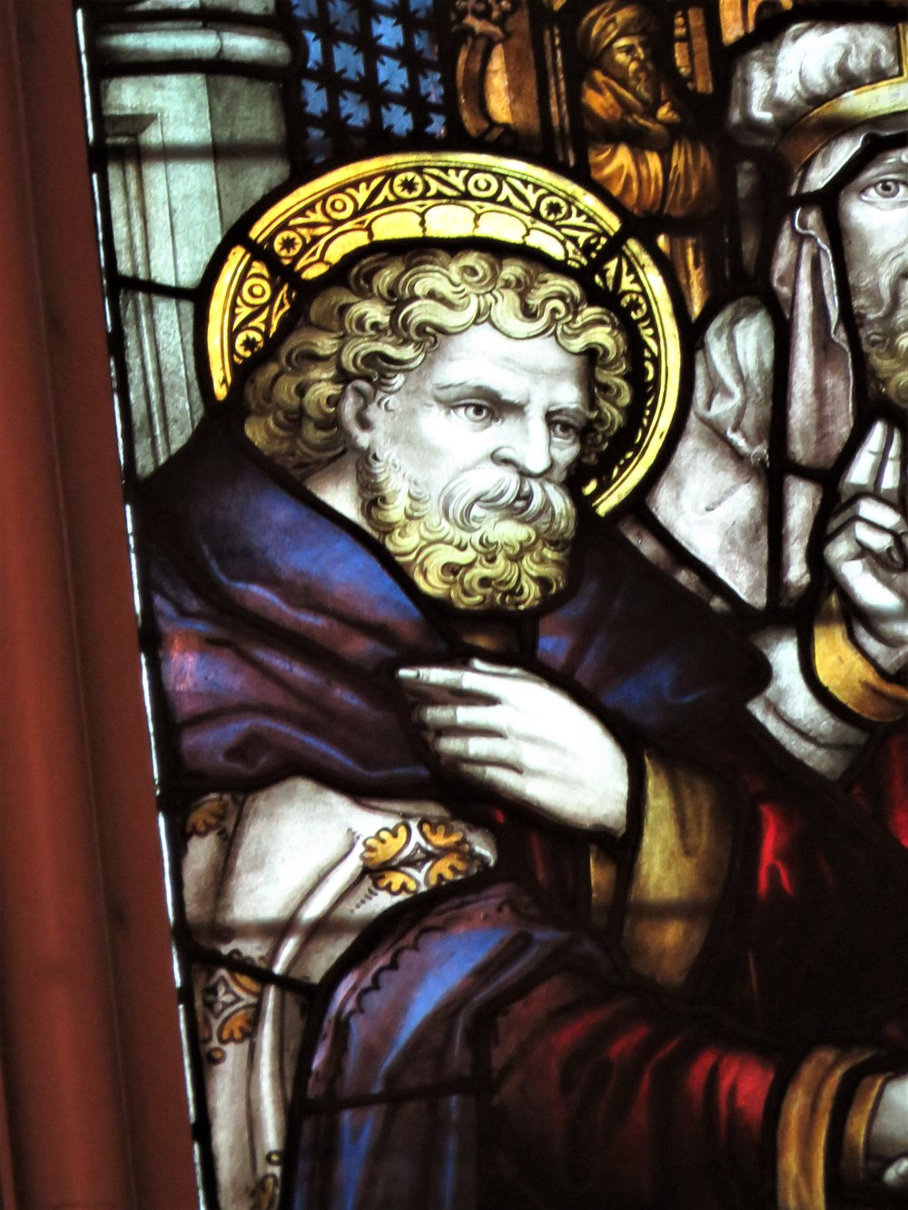 Saint Joseph, the Marriage of the Virgin, double lancet windows above the high altar by C.E. Kempe & Co., London (1917). Given by Haley Fiske (1852-1929) in thanksgiving for his thirtieth anniversary of marriage.  Photo by Damien Joseph SSF