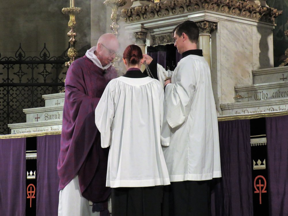 Incense is prepared, and the altar is censed, during the song of praise, in Lent,  Kyrie eleison.    Photo by Damien Joseph SSF