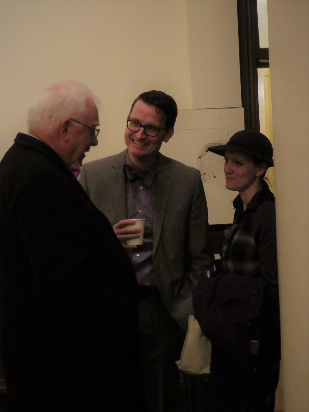 Father Pete Powell (L), Jason Mudd, and Grace Mudd after Mass on Sunday.  Photo by Damien Joseph SSF