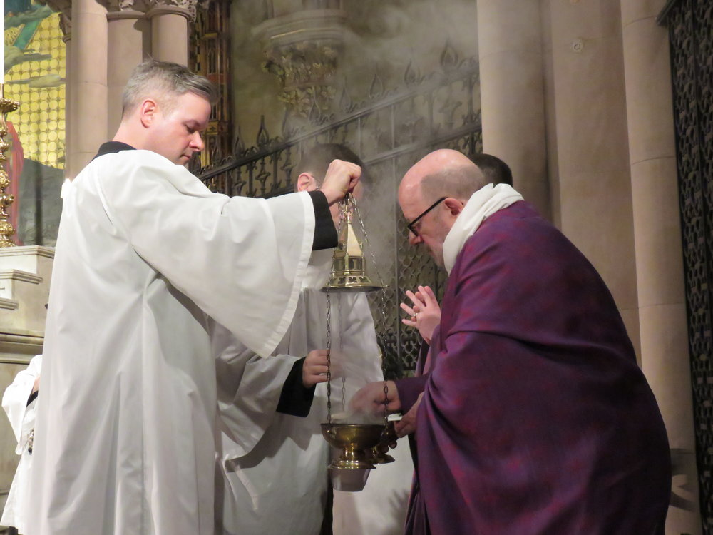 Incense being made at the chair before the gospel is proclaimed.   Photo by Damien Joseph SSF