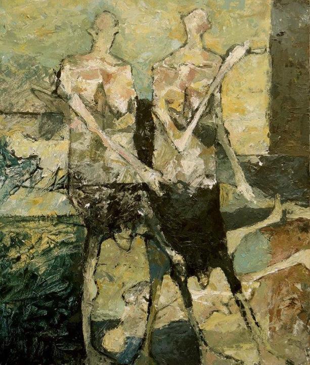 Twee figuren in een landschap - 2015- acryl op paneel