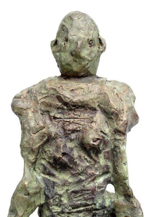 Man met hond - 2014 - brons - detail