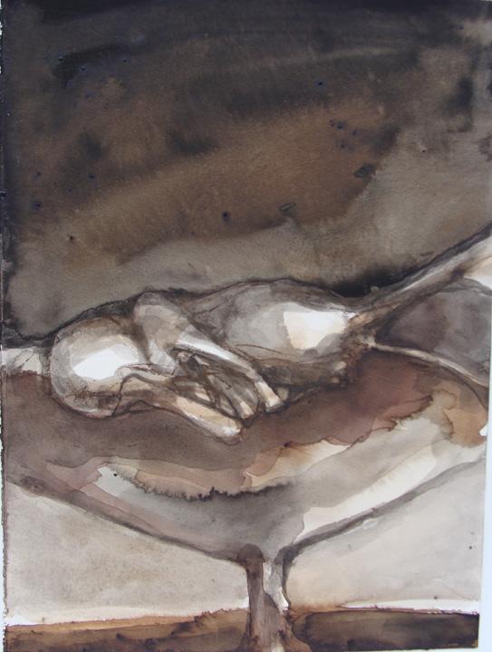 Liggend figuur - lavis - 2011