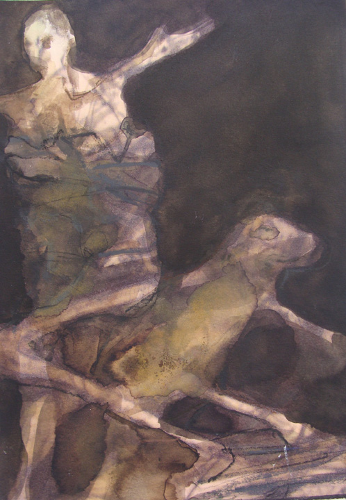Man met hond - aquarel - 2011