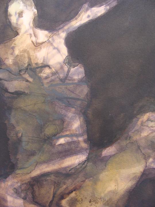 Man met hond - aquarel - detail - 2011