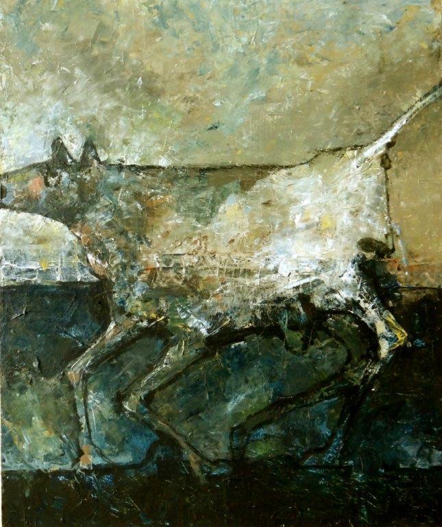 Running dog  2 - 2016 - acryl op paneel