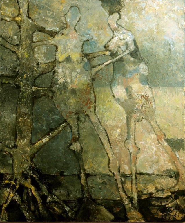 2 Figuren en een boom-2016 - acryl op paneel