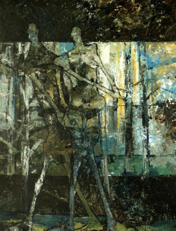 2 Figuren in een landschap- 2016 -acryl op paneel