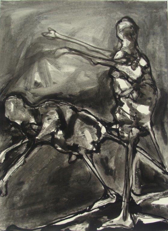 Nachtscene - lavis - 2010