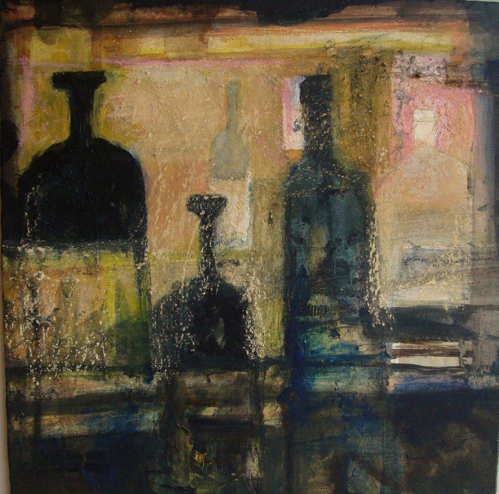 stilleven met flessen op een kast - 2016 -acryl op paneel-40x40 cm