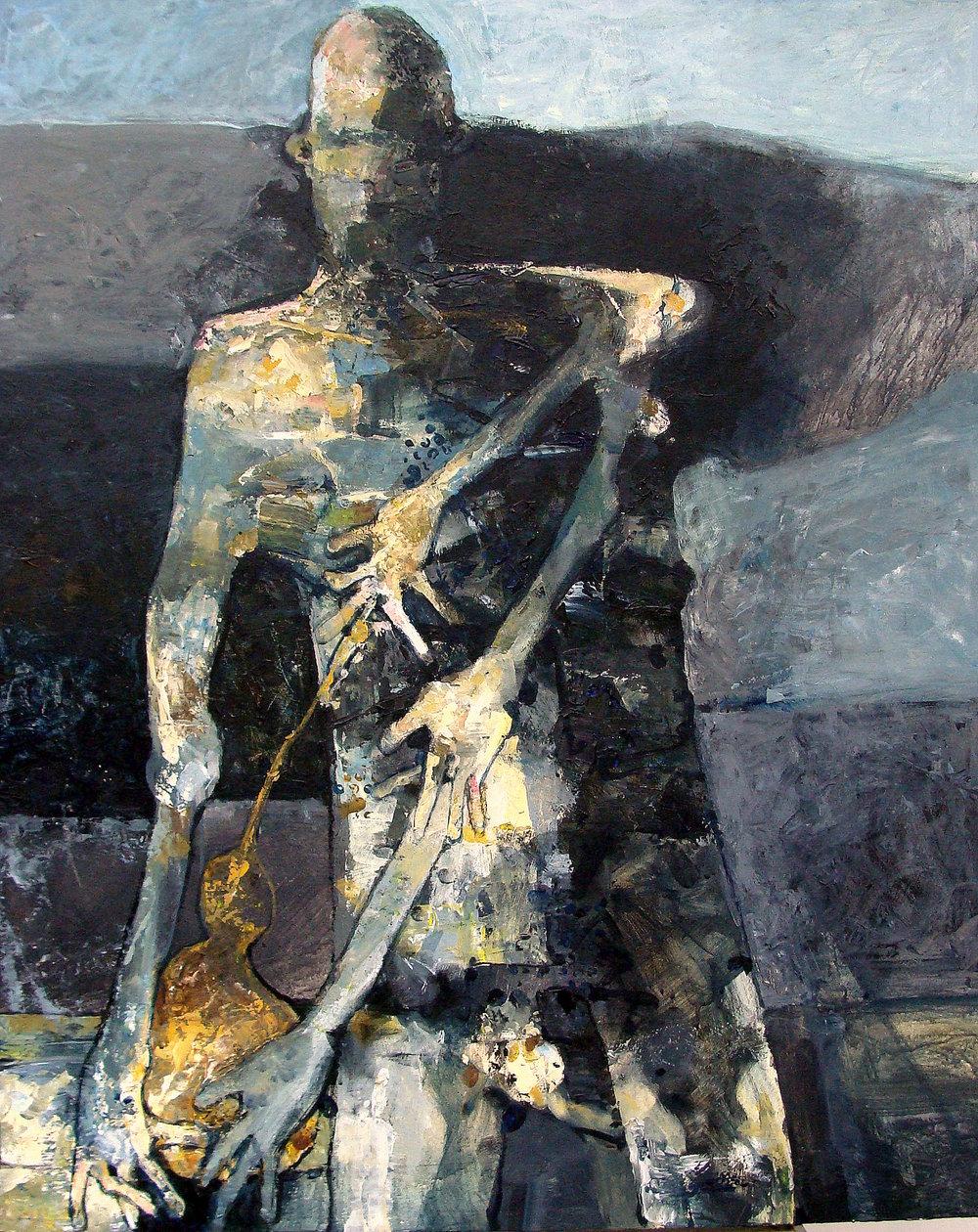 staand figuur met kalebas- 2016- acryl op paneel