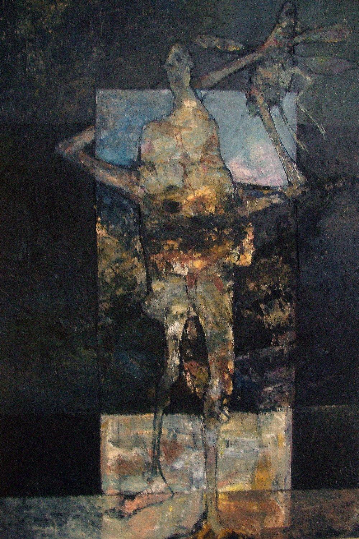 Staand figuur met kever – 2017 – acryl op paneel