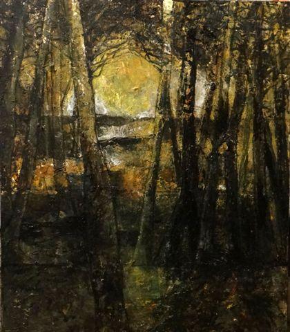 Bomen- ondergaande zon-2018-acryl op paneel-60x70 cm