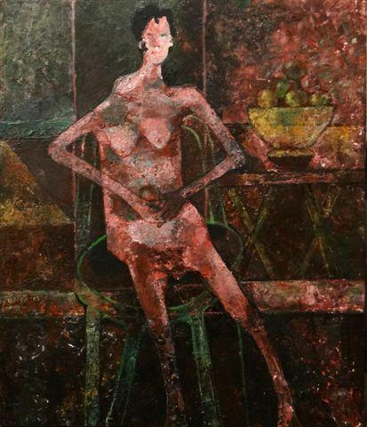Zittend figuur met appel-2018-acryl op paneel-60x70 cm
