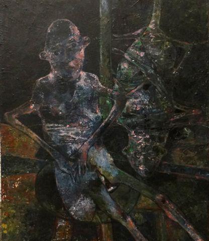 Figuur met cocon-2018-acryl op paneel-60x70 cm