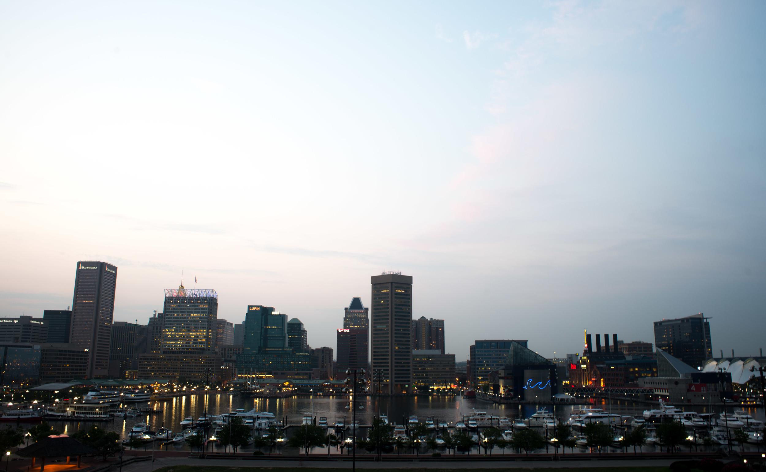 Baltimore City Skyline Night Photography