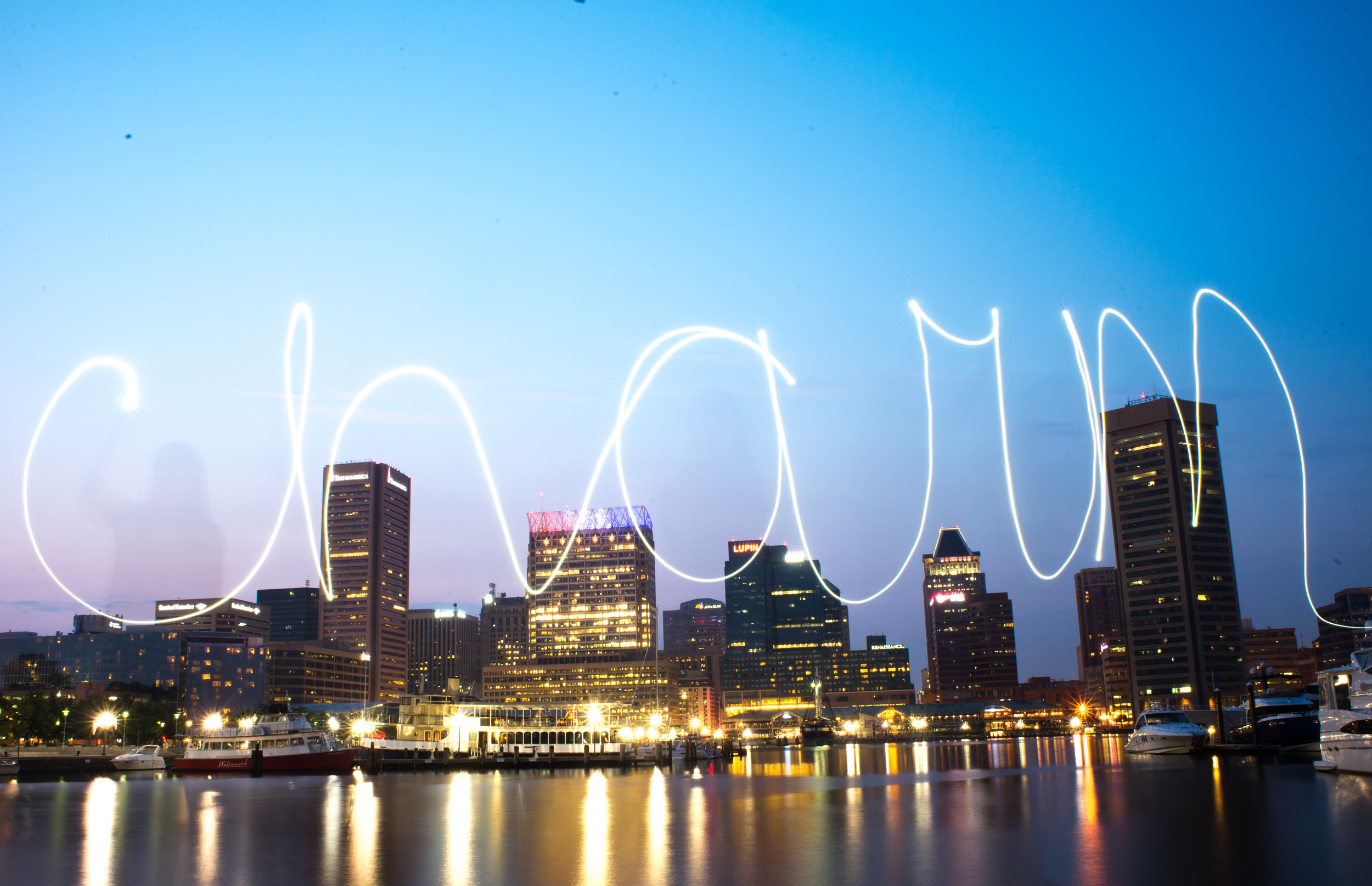 Baltimore City Skyline Night Photography