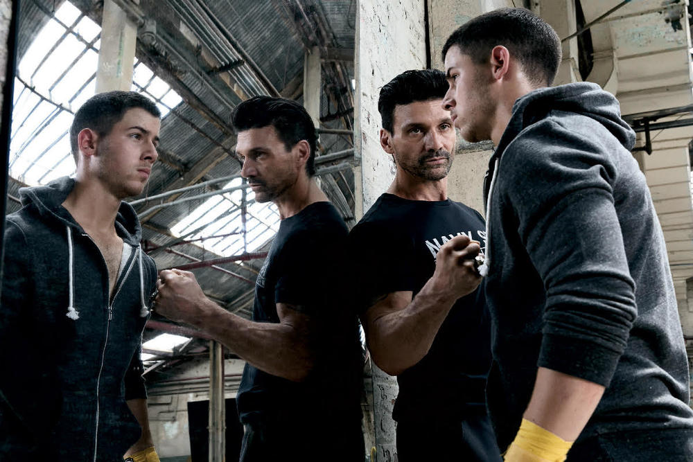 On Set: frank grillo as alvey kulina alongside nick jonas as nate kulina from the hit show 'kingdom' on audience tv