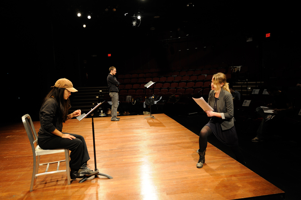 "Directing ""Offline"" for the Write Here, Write Now Student Playwriting Festival. Trinity Repertory Company, 2012. Providence, RI."