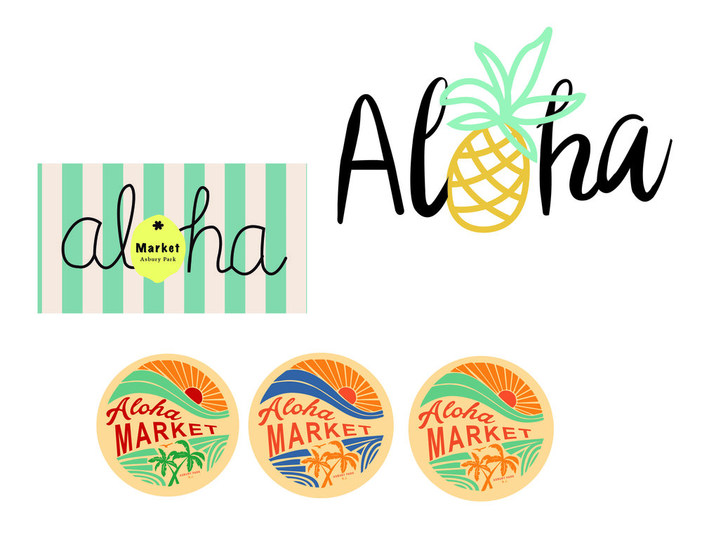 Aloha Market    Asbury Park, New Jersey    Top left;  Shop Sign;   Top Right;  T-Shirt Design   Bottom;  Stickers for shop