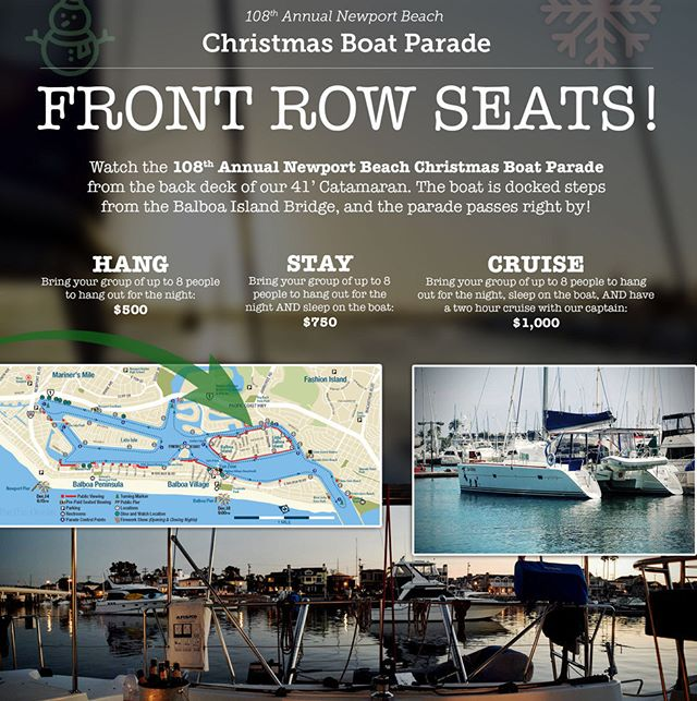 Bring your friends and watch the boat parade from front row seats on the Catamaran!! Call or text 949-329-3511 for more info! ... #newportbeachboatparade #orangecounty #christmas #myboatparade #holidaylights #harbor #visitnewportbeach #oc #newportbeach #orangecounty  #ocevents #instagood #instadaily #holidays #socal #christmaslove #festive #christmasboatparade #newportbeachchristmasboatparade #ringoflights #newportharbor #iloveoc #newportchristmasparade #christmasjoy #christmasiscoming #christmas2016 #christmastime