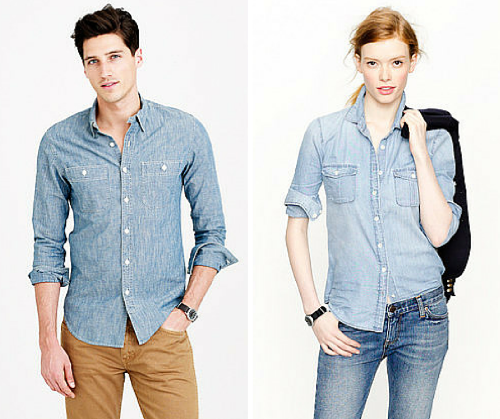 Men's button on the right placket . Women's buttons on the left. Images sourced from J.Crew
