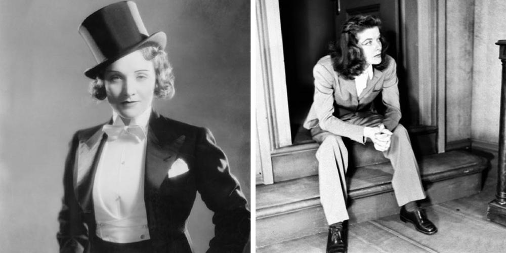 Left image: Marlene Dietrich. Right image: Katherine Hepburn.