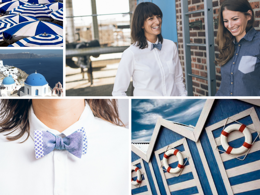 Blue and white color combination in fashion