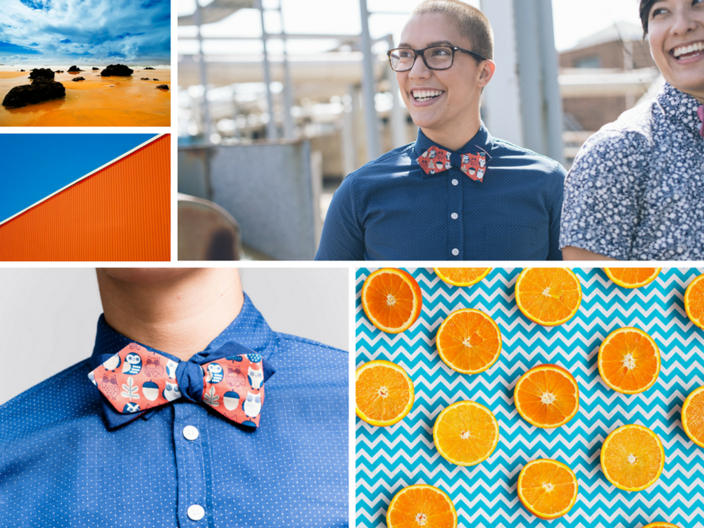 Orange and blue color combination in fashion
